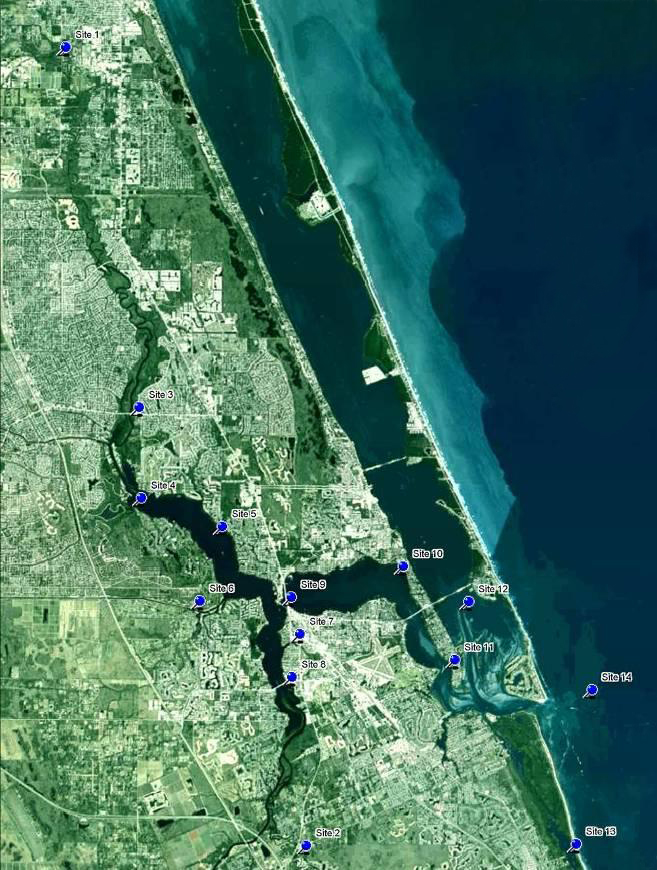 Location of Nutrient Input and Estuarine Monitoring Sites