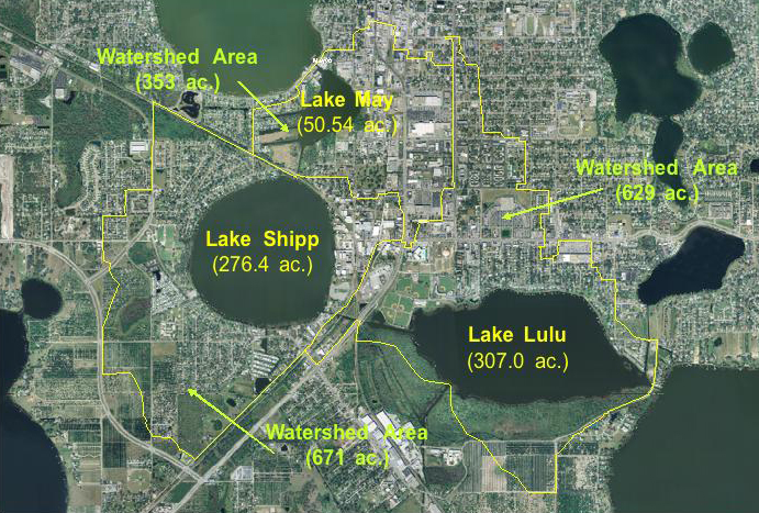 Drainage Basin Areas for Lakes May, Shipp and Lulu